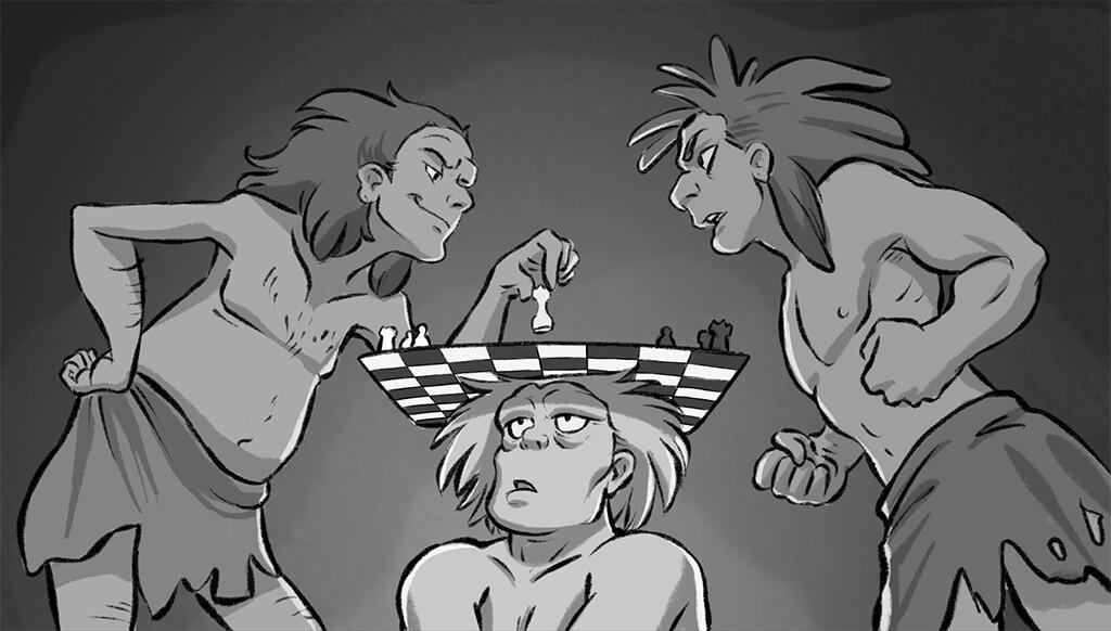 nanda-van-dijk-cavemen-playing-chess